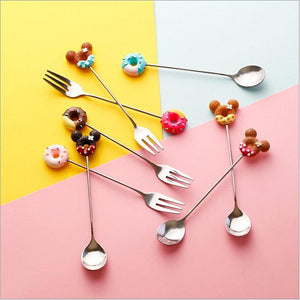 Colorful Donuts Dessert Spoon & Fork from Gallery Wallrus | Eclectic Wall Art & Decor with Worldwide Shipping