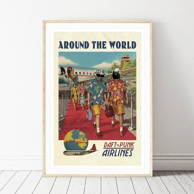 Vintage Daft Punk Airlines Art Picture from Gallery Wallrus | Eclectic Wall Art & Decor with Worldwide Shipping