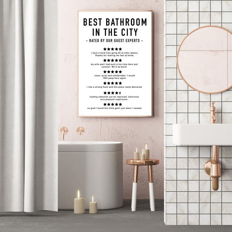 Funny Bathroom Hotel Reviews Art Print from Gallery Wallrus | Eclectic Wall Art & Decor with Worldwide Shipping