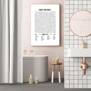Funny Bathroom Word Search Crossword Game Wall Art Print from Gallery Wallrus | Eclectic Wall Art & Decor with Worldwide Shipping