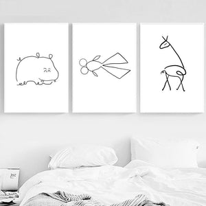 Elephant Giraffe Deer Simple Line Drawings Gallery Wall Art Prints from Gallery Wallrus | Eclectic Wall Art & Decor with Worldwide Shipping