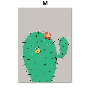 Girl Boy Cactus Giraffe Cartoon Gallery Wall Art Prints 2 from Gallery Wallrus | Eclectic Wall Art & Decor with Worldwide Shipping