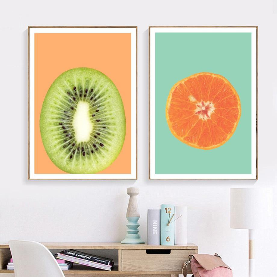 Gohipang Kiwi Avocado Orange Fruit Wall Art Canvas Painting Posters And Prints Nordic Poster Wall Pictures For Living Room from Gallery Wallrus | Eclectic Wall Art & Decor with Worldwide Shipping