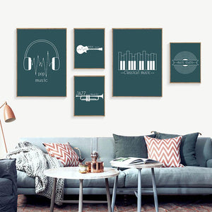 Cool Types of Music Silhouette Picture Wall Art Sets from Gallery Wallrus | Eclectic Wall Art & Decor with Worldwide Shipping