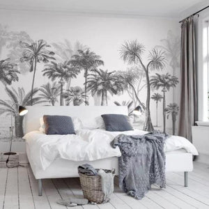 Black and White Sketch Coconut Tree Wall Mural from Gallery Wallrus | Eclectic Wall Art & Decor with Worldwide Shipping