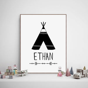 Personalized Name Teepee Art from Gallery Wallrus | Eclectic Wall Art & Decor with Worldwide Shipping