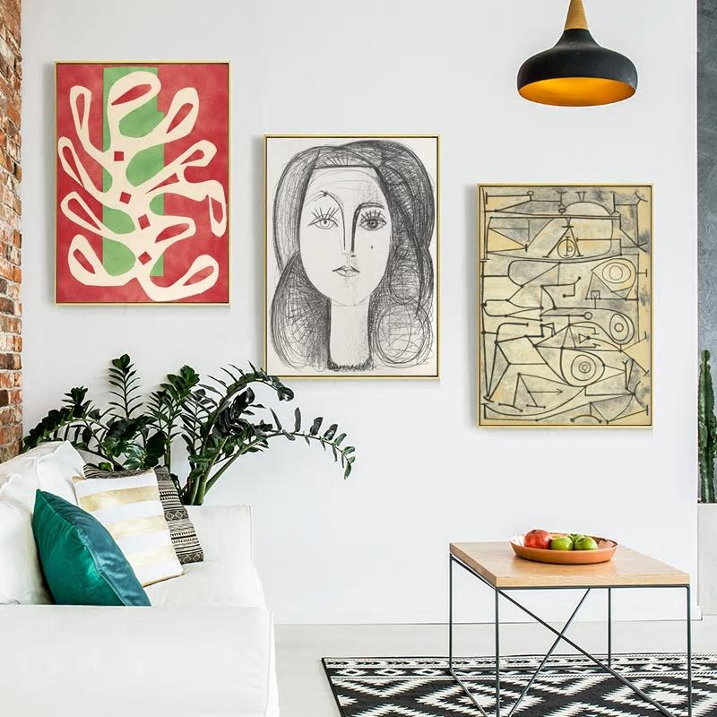 Gallery Wall of 3 Amedeo Modigliani Picasso Artworks from Gallery Wallrus | Eclectic Wall Art & Decor with Worldwide Shipping