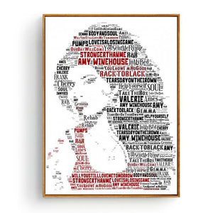 Cool Music Typography Art Print - Amy Winehouse from Gallery Wallrus | Eclectic Wall Art & Decor with Worldwide Shipping