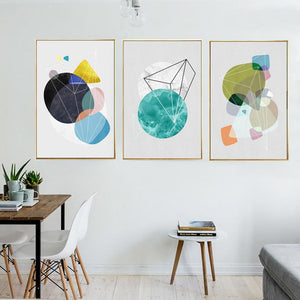 Gallery Wall Trio of 3 Geometic Abstract Style Art Prints from Gallery Wallrus | Eclectic Wall Art & Decor with Worldwide Shipping