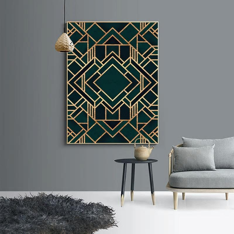 Geometric Green & Gold Art from Gallery Wallrus | Eclectic Wall Art & Decor with Worldwide Shipping