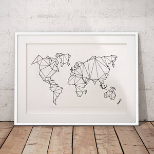 Large Geometric World Map Art Print from Gallery Wallrus | Eclectic Wall Art & Decor with Worldwide Shipping