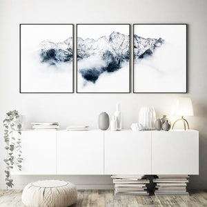 Gallery Wall Trio of Snowy Mountain view from Gallery Wallrus | Eclectic Wall Art & Decor with Worldwide Shipping