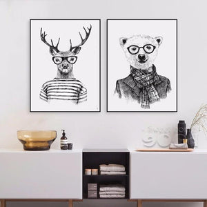 Twin set of hipster hand drawn animal art prints from Gallery Wallrus | Eclectic Wall Art & Decor with Worldwide Shipping