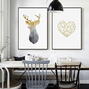 Stag Heart Geometric Twin Set from Gallery Wallrus | Eclectic Wall Art & Decor with Worldwide Shipping