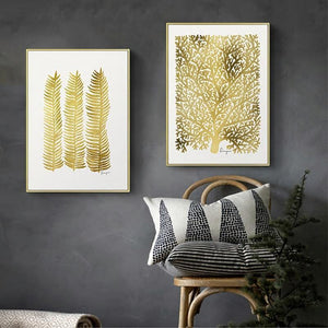 Twin Set of Nordic Gold Leaf Gallery Wall Art Prints from Gallery Wallrus | Eclectic Wall Art & Decor with Worldwide Shipping