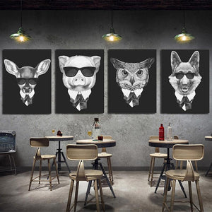 Gallery Wall Set of 4 Gangsta Animal Prints from Gallery Wallrus | Eclectic Wall Art & Decor with Worldwide Shipping