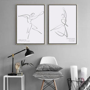 2 x Dancing Figures Line Drawings Art Prints from Gallery Wallrus | Eclectic Wall Art & Decor with Worldwide Shipping