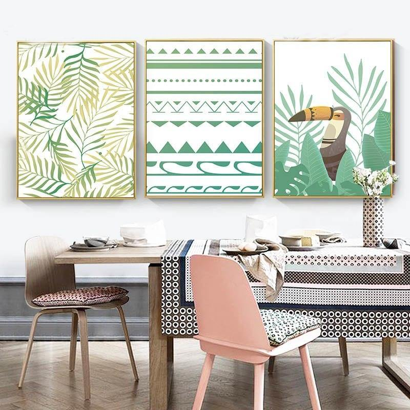 Green Gallery Wall of 3 funky Art Designs from Gallery Wallrus | Eclectic Wall Art & Decor with Worldwide Shipping
