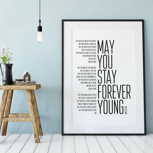 Bob Dylan Forever Young Lyrics Typography Art Print from Gallery Wallrus | Eclectic Wall Art & Decor with Worldwide Shipping