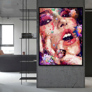 Striking Artsy Graffiti Portrait Naida from Gallery Wallrus | Eclectic Wall Art & Decor with Worldwide Shipping