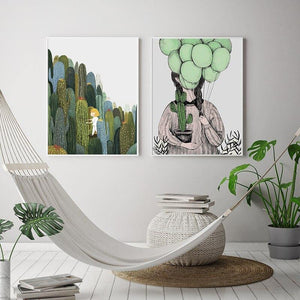 Cool Cartoon Cactus and Balloon Gallery Wall Artwork Duo from Gallery Wallrus | Eclectic Wall Art & Decor with Worldwide Shipping