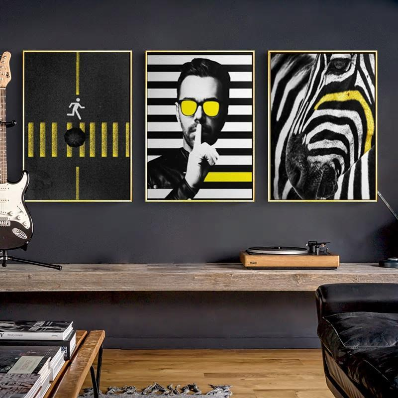 Funky Gallery Wall Trio of Black, white & yellow pop art prints from Gallery Wallrus | Eclectic Wall Art & Decor with Worldwide Shipping