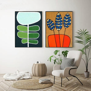 Bold Retro Plant Gallery Wall Artwork Duo from Gallery Wallrus | Eclectic Wall Art & Decor with Worldwide Shipping
