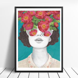 Vintage Floral Girl Painting from Gallery Wallrus | Eclectic Wall Art & Decor with Worldwide Shipping