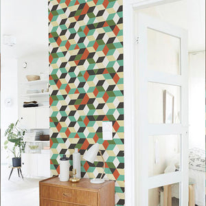 Self Adhesive Sticker Retro Geometric Patterned Wallpaper from Gallery Wallrus | Eclectic Wall Art & Decor with Worldwide Shipping
