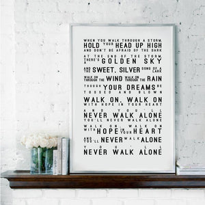 Liverpool Football Club You'll Never Walk Alone Art Print from Gallery Wallrus | Eclectic Wall Art & Decor with Worldwide Shipping