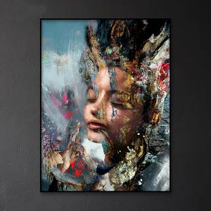 Striking Artsy Graffiti Portrait Julietta from Gallery Wallrus | Eclectic Wall Art & Decor with Worldwide Shipping
