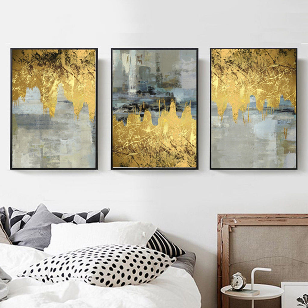 Gallery Wall Trio of 3 Gold Foils and Grey Abstract Art Prints from Gallery Wallrus | Eclectic Wall Art & Decor with Worldwide Shipping