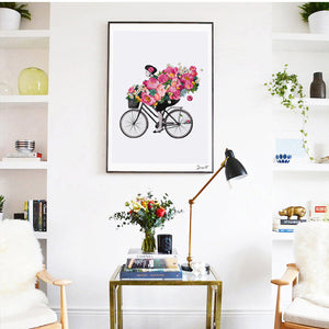 Floral Cycling Painting from Gallery Wallrus | Eclectic Wall Art & Decor with Worldwide Shipping