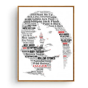 Cool Music Typography Art Print - Mick Jagger from Gallery Wallrus | Eclectic Wall Art & Decor with Worldwide Shipping