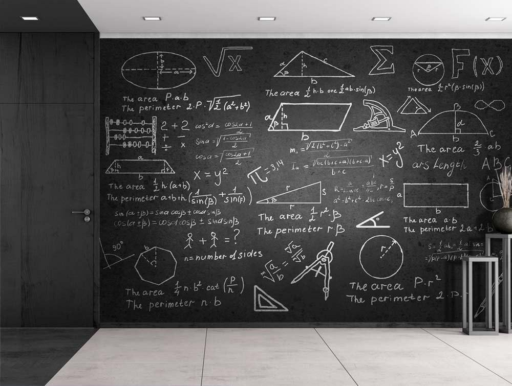 Mathematics Chalkboard Self Adhesive Wall Mural from Gallery Wallrus | Eclectic Wall Art & Decor with Worldwide Shipping