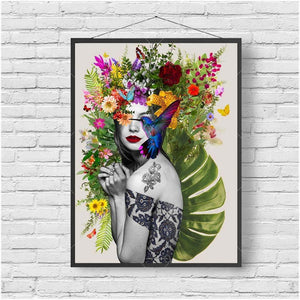 Flower Tattoo Girl Art Print from Gallery Wallrus | Eclectic Wall Art & Decor with Worldwide Shipping