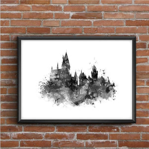 Hogwarts Castle Painting Art Print (Color / Black & White) from Gallery Wallrus | Eclectic Wall Art & Decor with Worldwide Shipping
