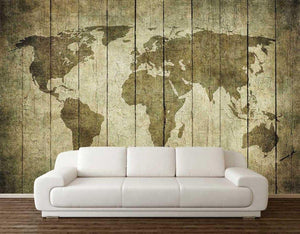 Wooden Board World Map Self Adhesive Wall Mural from Gallery Wallrus | Eclectic Wall Art & Decor with Worldwide Shipping