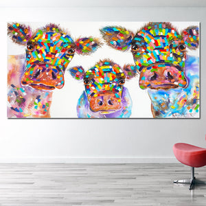 Colorful Cows Painting from Gallery Wallrus | Eclectic Wall Art & Decor with Worldwide Shipping