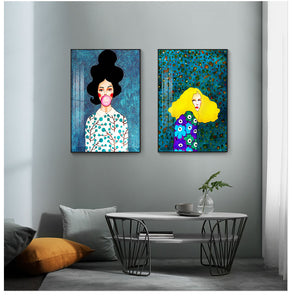 Twin set of Boho Girl Paintings from Gallery Wallrus | Eclectic Wall Art & Decor with Worldwide Shipping