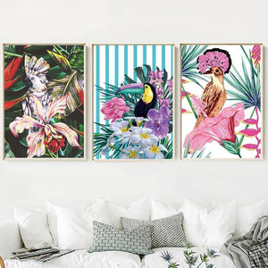 Gallery Wall Trio of 3 Tropical Bird Art Prints from Gallery Wallrus | Eclectic Wall Art & Decor with Worldwide Shipping