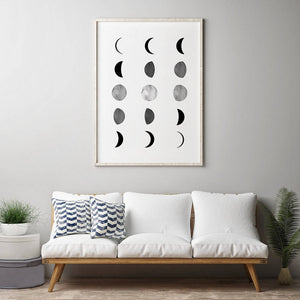 Large Moon Phases Minimalist Art Print from Gallery Wallrus | Eclectic Wall Art & Decor with Worldwide Shipping