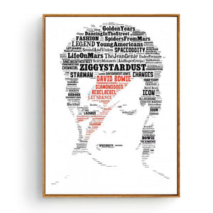 Cool Music Typography Art Print - David Bowie from Gallery Wallrus | Eclectic Wall Art & Decor with Worldwide Shipping