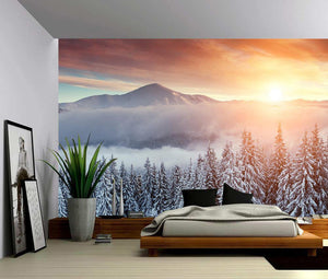 Snowy Ski Mountain Self Adhesive Wall Mural from Gallery Wallrus | Eclectic Wall Art & Decor with Worldwide Shipping