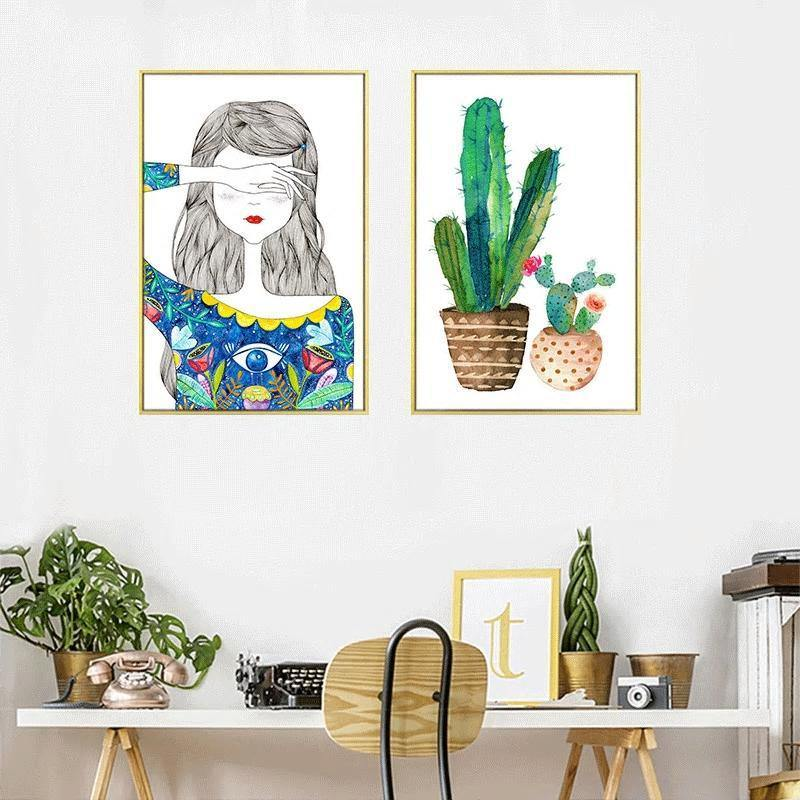 Boho Girl and Cactus Gallery Wall Artwork Duo from Gallery Wallrus | Eclectic Wall Art & Decor with Worldwide Shipping