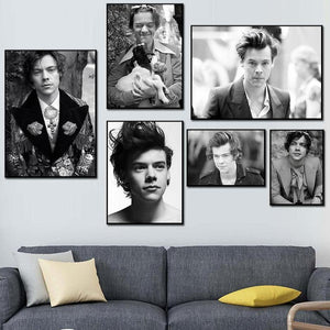 Black & White Music Star Harry Style Gallery Wall Art from Gallery Wallrus | Eclectic Wall Art & Decor with Worldwide Shipping