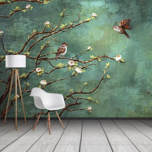 Nature Green Birds and Branches Wall Mural from Gallery Wallrus | Eclectic Wall Art & Decor with Worldwide Shipping