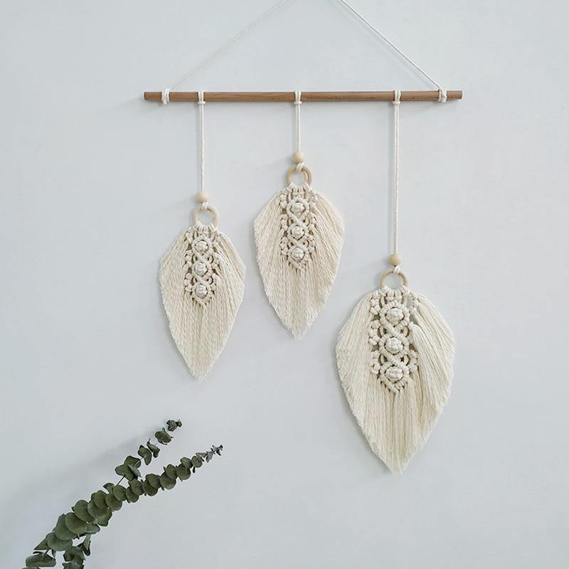 Macrame Bohemian Leaf Wall Hanging from Gallery Wallrus | Eclectic Wall Art & Decor with Worldwide Shipping