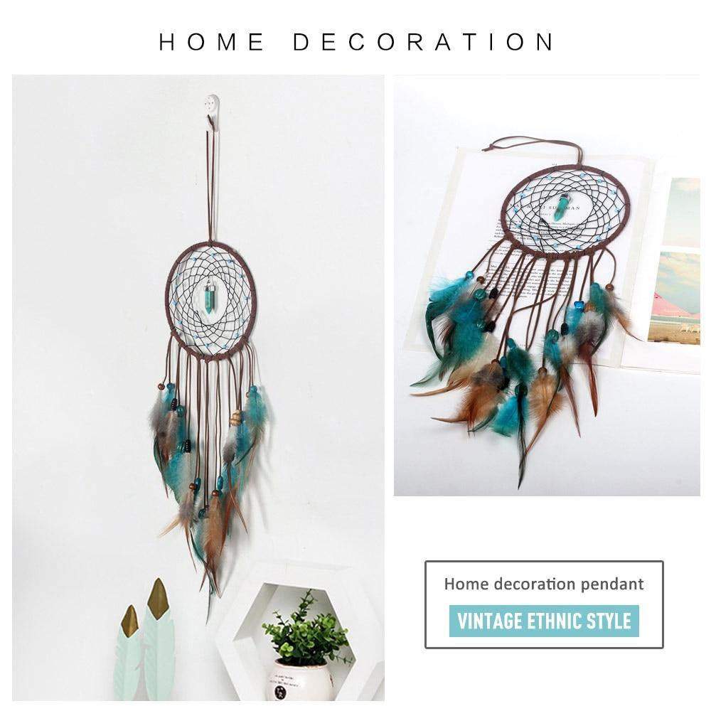 Ethnic Green Feather Dream Catcher from Gallery Wallrus | Eclectic Wall Art & Decor with Worldwide Shipping