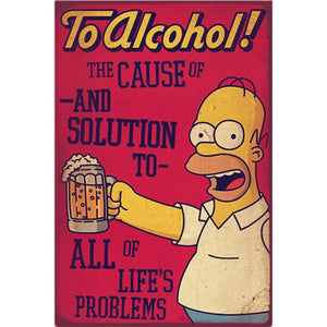 Homer Simpson Beer Metal Wall Art Signs from Gallery Wallrus | Eclectic Wall Art & Decor with Worldwide Shipping
